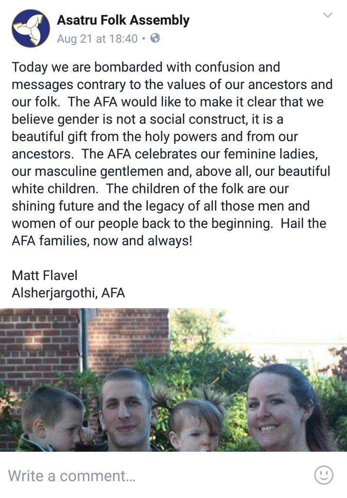 Screenshot eines rassistischen Facebook-Beitrags der AFA