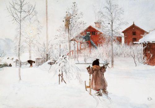 "Carl Larsson: ""Lilla Hyttnäs"" im Winter"