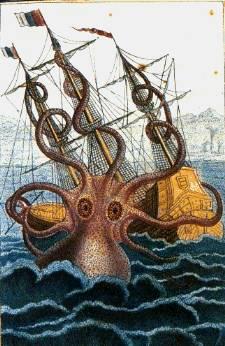 Krake zieht ein Schiff in die Tiefe.